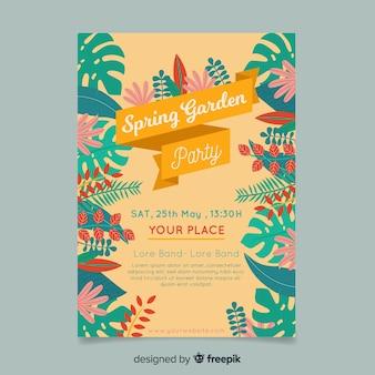 Cartaz de festa de jardim de quadro de folhas