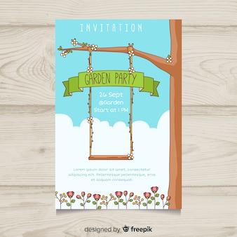 Cartaz de festa de jardim de swing desenhada mão