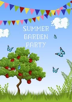 Cartaz de festa de jardim de verão com macieira, grama, borboletas, nuvens, céu, bandeiras e texto.