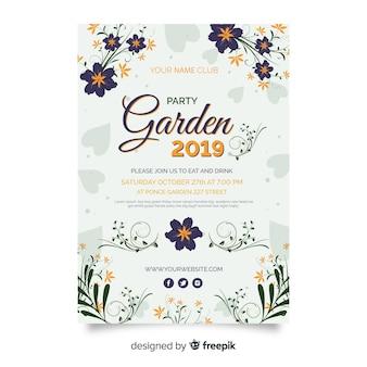 Cartaz de festa de jardim desenhada de mão