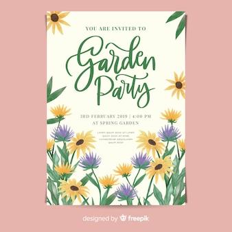 Cartaz de festa de jardim em aquarela