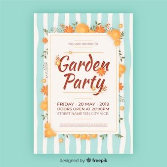 Cartaz de festa de jardim listrado