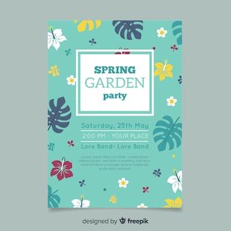 Cartaz de festa de jardim plana