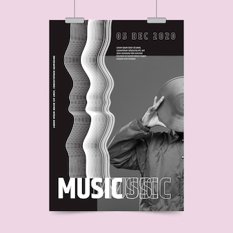 Cartaz de festa de música abstrata com foto