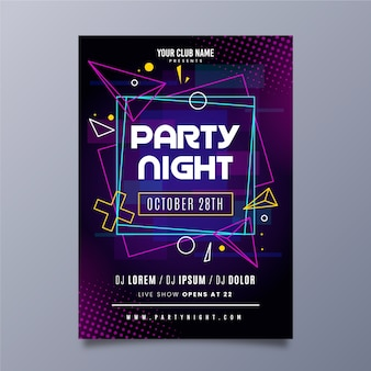 Cartaz de festa de música abstrata luzes de néon e fronteiras