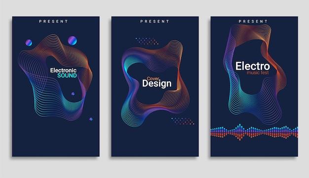 Cartaz de festa de música eletrônica com equalizador colorido