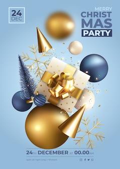Cartaz de festa de natal azul e dourado com decoração realista