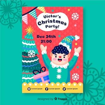 Cartaz de festa de natal com elfo
