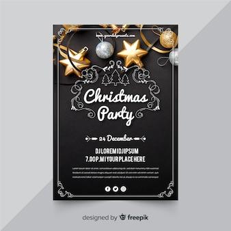 Cartaz de festa de natal com foto