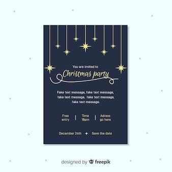 Cartaz de festa de natal de estrelas douradas