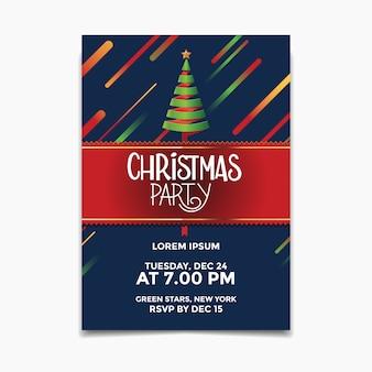Cartaz de festa de natal e flyer com árvore de natal