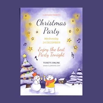 Cartaz de festa de natal em aquarela