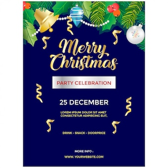 Cartaz de festa de natal realista com ornamento de sino e bola
