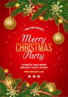 Cartaz de festa de natal vermelho