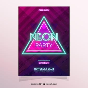 Cartaz de festa de néon com triângulo moderno