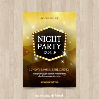 Cartaz de festa de noite de formas geométricas