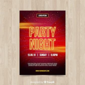 Cartaz de festa de noite de letra cintilante