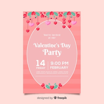 Cartaz de festa de ornamentos florais dos namorados