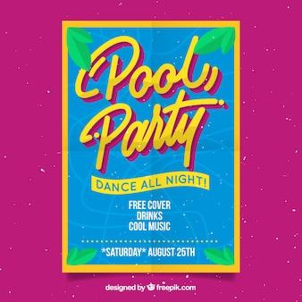 Cartaz de festa de piscina com folhas de palmeira