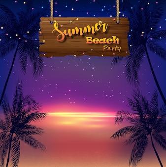 Cartaz de festa de praia de verão com palmeiras na praia ao pôr do sol