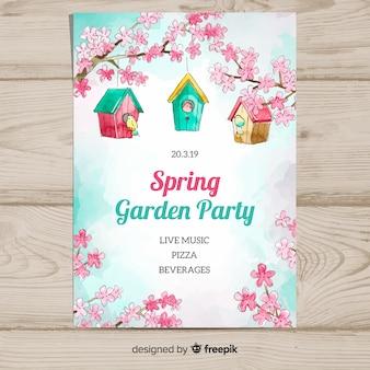 Cartaz de festa de primavera aquarela pássaro casa