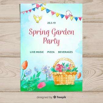 Cartaz de festa de primavera cesta aquarela