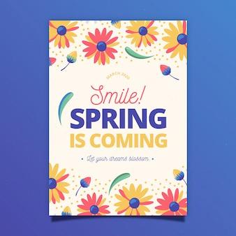 Cartaz de festa de primavera de flores amarelas e vermelhas