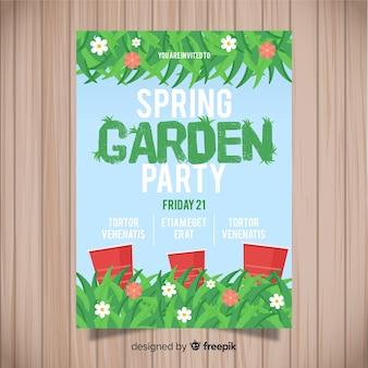 Cartaz de festa de primavera de grama