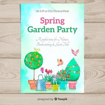 Cartaz de festa de primavera de vasos de flores em aquarela