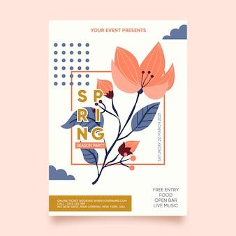 Cartaz de festa de primavera desenhado à mão
