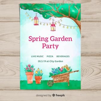Cartaz de festa de primavera jardim aquarela