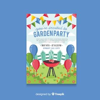 Cartaz de festa de primavera mão desenhada churrasco
