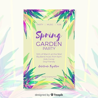 Cartaz de festa de primavera tropical