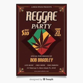 Cartaz de festa de reggae colorido com design liso