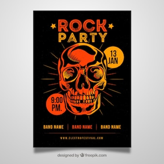 Cartaz de festa de rock com crânio liso