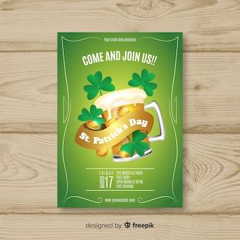Cartaz de festa de st patrick de cerveja dourada