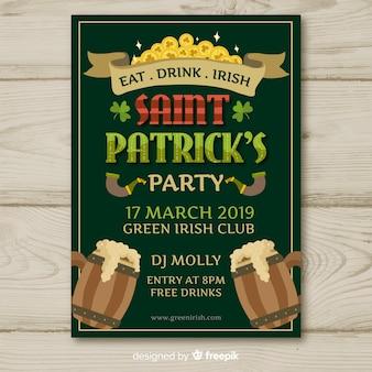 Cartaz de festa de st patrick de jarros de madeira