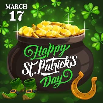 Cartaz de festa de st. patricks, símbolos da irlanda