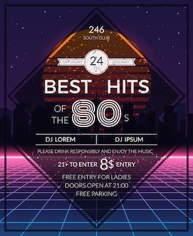 Cartaz de festa de sucessos retro dos anos 80