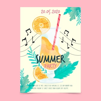 Cartaz de festa de verão aquarela e notas musicais