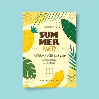 Cartaz de festa de verão com abacaxi e banana
