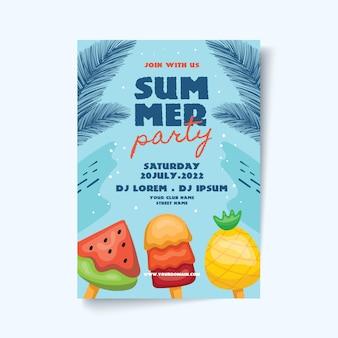 Cartaz de festa de verão com folhas e sorvete