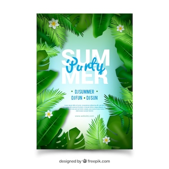 Cartaz de festa de verão com folhas realistas