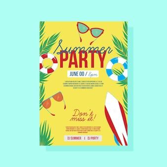 Cartaz de festa de verão com óculos de sol e prancha de surf