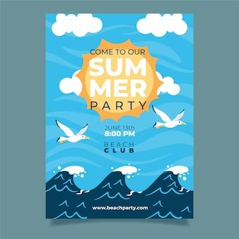 Cartaz de festa de verão com ondas e pássaros