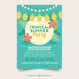 Cartaz de festa de verão com plantas e bandeirolas