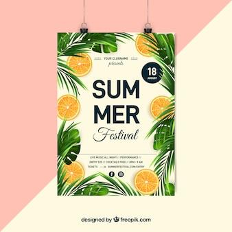 Cartaz de festa de verão com plantas realistas