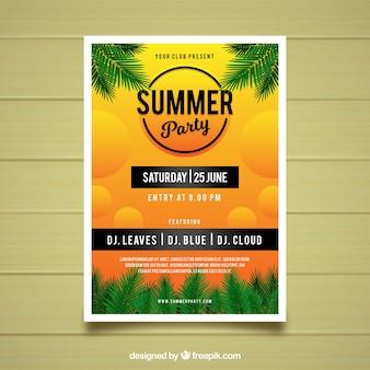 Cartaz de festa de verão com plantas