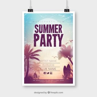 Cartaz de festa de verão com pôr do sol