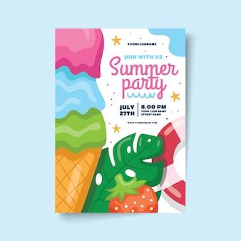 Cartaz de festa de verão com sorvete e morango